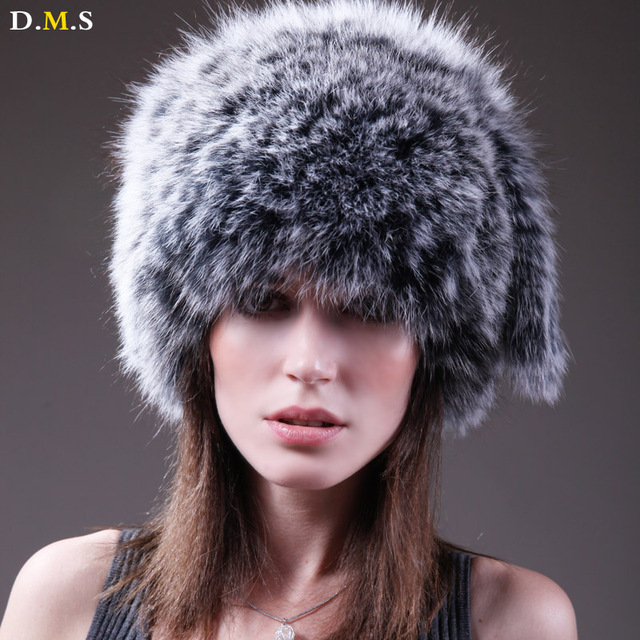 Ladies Real fox fur hats 100% natural Fox fur hat winter new women's hats fashion women genuine fox fur knitted cap