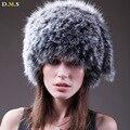 Senhoras de pele de raposa chapéus 100% chapéu de pele de raposa inverno de moda mulheres de pele de raposa de malha