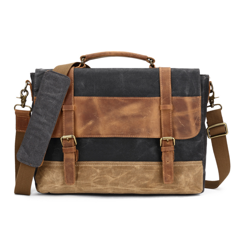Vintage Men Crazy Horse Leather Crossbody Bag Fashion Canvas Messenger Bag Of European Design Male Canvas Crossbody Bags G051