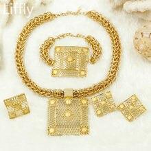 c6113826bd0f 2017 joyas de Oro Dubai Africano ventas Calientes Gran Cadena collar pulsera  de Las Mujeres del