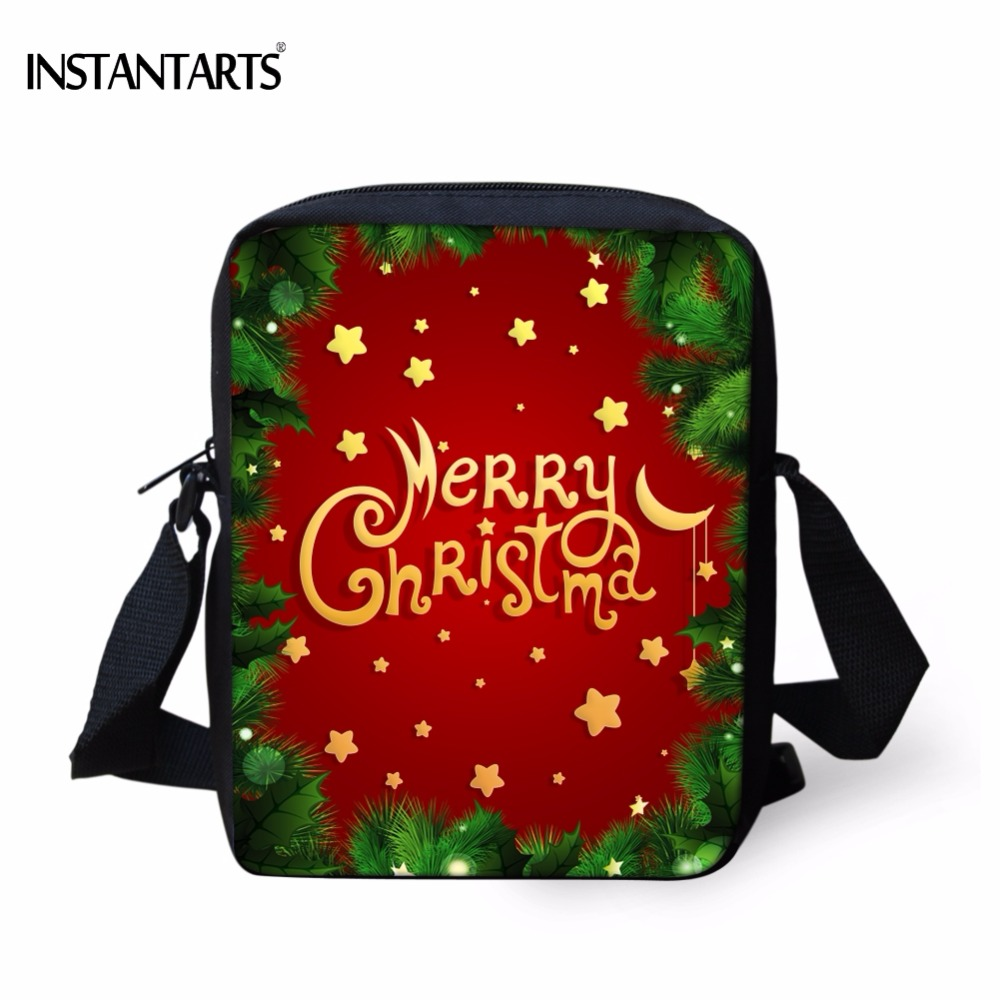 INSTANTARTS Green Christmas Tree Handbags for Children Gift Mini Cross Body Bag Famous Brand Boys Girls Fashion Messenger Bags