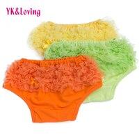 Groothandel 3 Stuks/partij Peuter baby shorts meisje Katoen Lagen Chiffon Ruches Groothandel Pasgeboren Bloeier Luier Covers 0-2 jaar