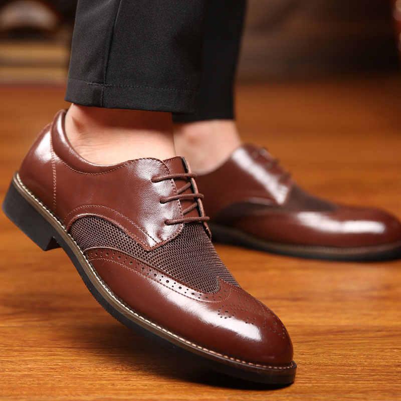 ผู้ชายรองเท้าหนังแท้รองเท้า Lace Up รองเท้า Brogue Oxfords สำหรับผู้ชายงานแต่งงานธุรกิจรองเท้าผู้ชายรองเท้าอย่างเป็นทางการ