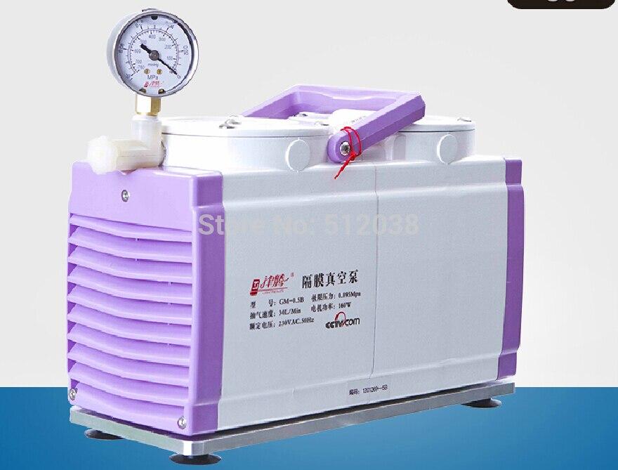 0.50B yağsız alüminyum alaşımlı çift kafa diyafram vakum pompası 30L/dak, 50 mbar 110 V/220 V