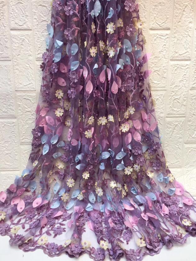 Beau tissu nigérian de Cyndi 12.1610 pour la robe de soirée nouveau tissu de dentelle brodé africain-in Dentelle from Maison & Animalerie    1