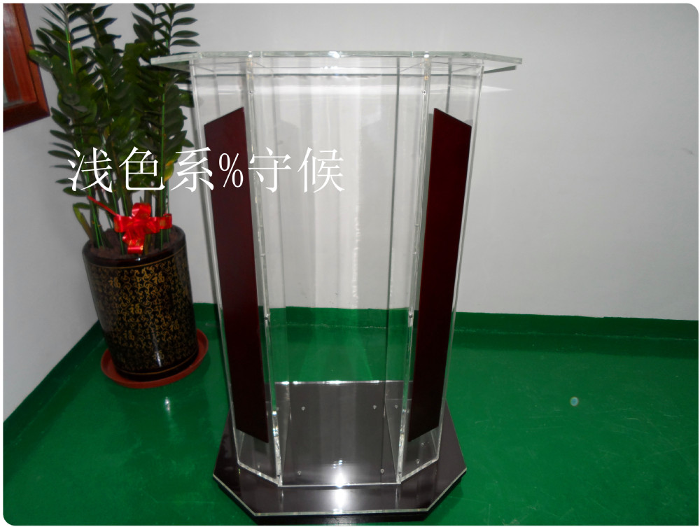 Hot SellingClear Plexiglass Podium, Acrylic Wood Lectern, Church Podium