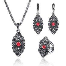 Классическое Античное серебряное женское ювелирное изделие, Трендовое геометрическое винтажное металлическое ожерелье, набор, модное элегантное черное ювелирное изделие с кристаллами