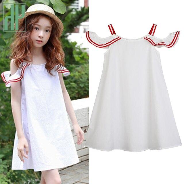 467523f269d75 Children's dresses Summer White Beach Dress off shoulder elegant dress for  girls costume Cute Toddler Teens Kids Clothing