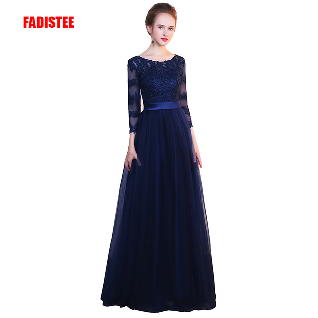 FADISTEE New arrival elegant party evening full sleeves prom dresses  Vestido de Festa A-line appliques lace style dress 93a1b28fbe4d