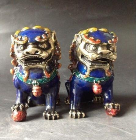 A Pair Chinese Cloisonne Copper Statue - Lion Foo Dog NR china brass copper fengshui guardian town house evil foo dog lion statue pair