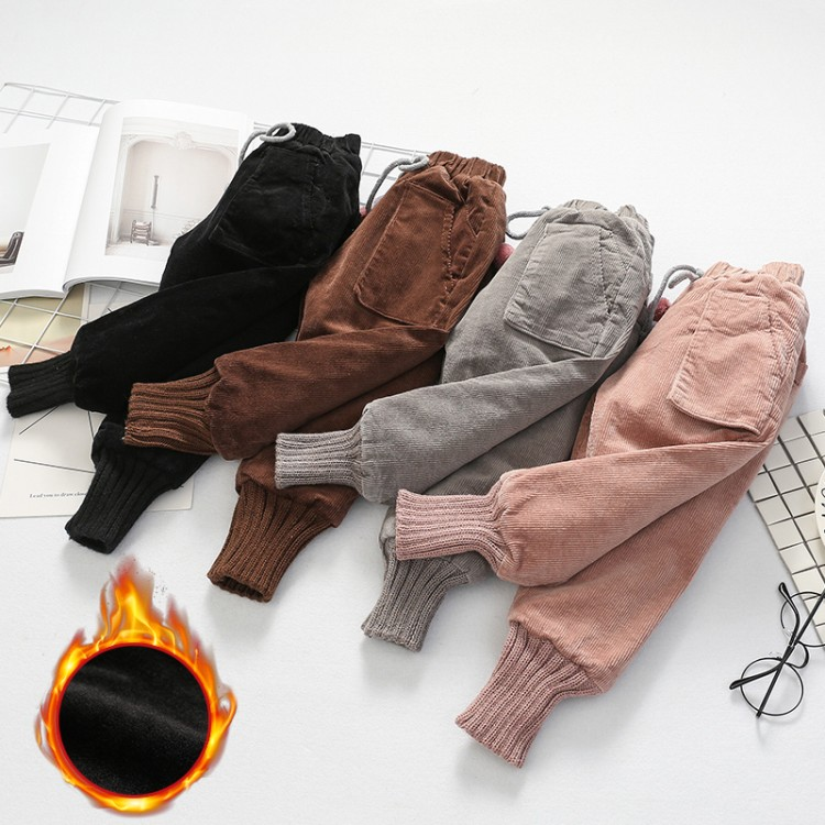 baby new fashion autumn winter Thicken trousers girls corduroy pants child solid Bottoms children keep warm pants 3-12 years old afs jeep new men cargo pants autumn winter overall loose straight more pocket jeans fashion casual man trousers bottoms