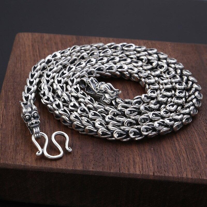 Lourd 6 MM vendu S925 Thai argent tête de Dragon colliers pour hommes Rretro 925 argent Sterling 50-65 cm chaîne colliers livraison directe - 3
