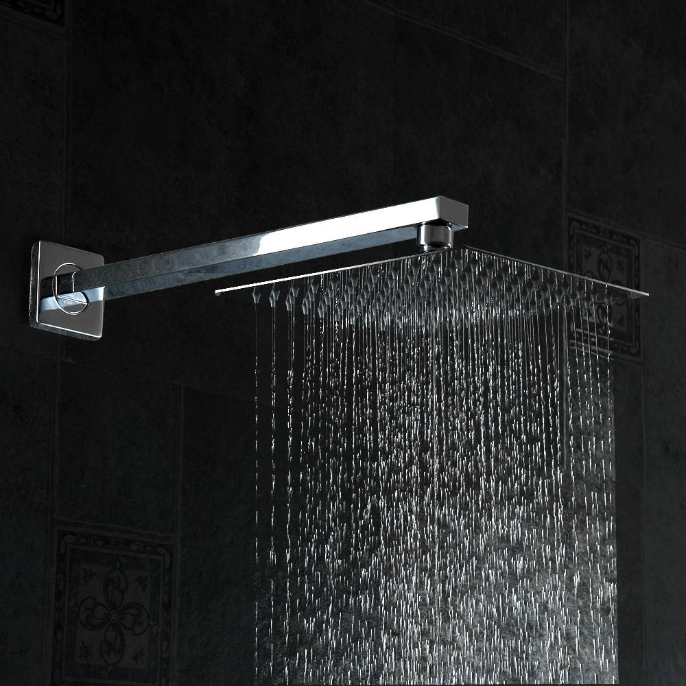 ⑤becola shower head with shower arm square stainless steel ultra ...