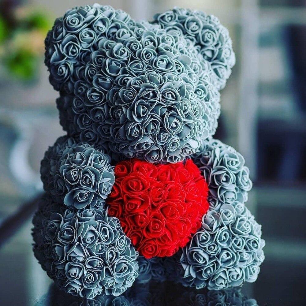2018 Venta caliente 40 cm Oso de rosas artificiales flores inicio boda Festival DIY barato decoración de la boda caja de regalo corona artesanía