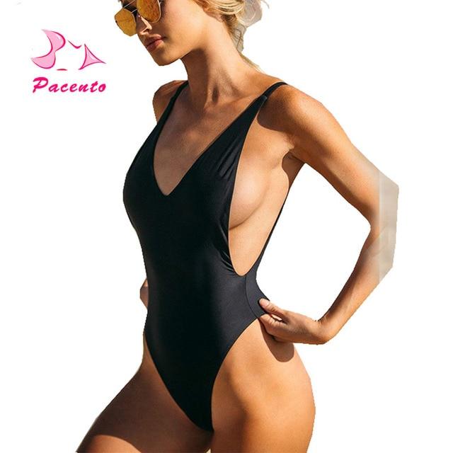 99dd9a8305497 Pacento One Piece Swimsuit Women Sexy Backless Bathing Suits High Cut  Brazilian Bodysuit Solid Deep V Swimwear Plus Size XL XXL