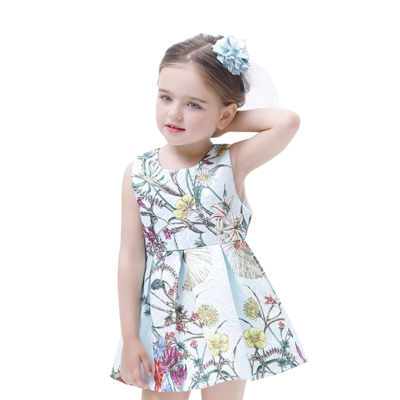 Summer Casual Baby Girls Cotton O Neck Sleeveless A Line Plants Printed Mini Dress Children Clothing