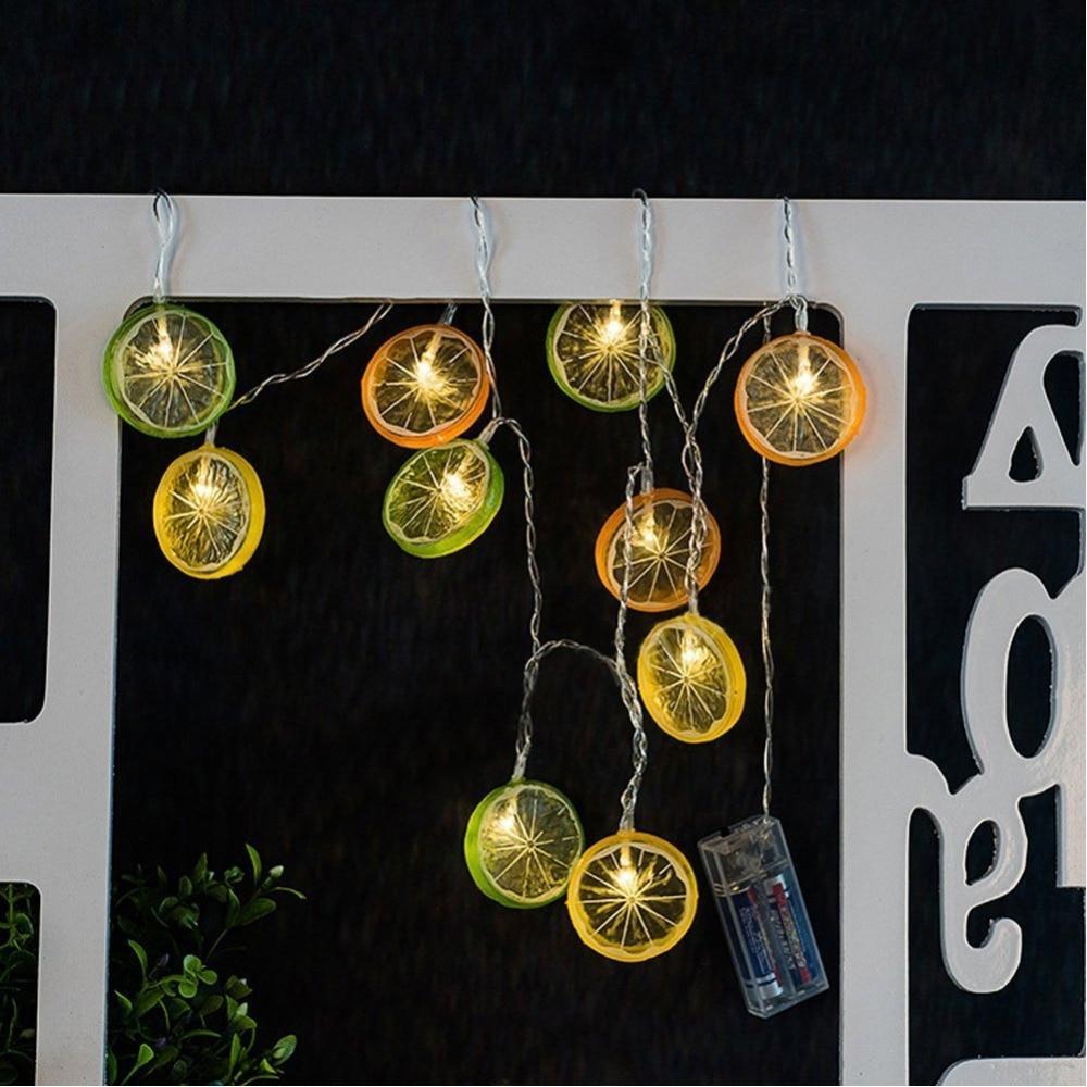 Outdoor Led Christmas Lights Lemon Slice Shape Battery Operated Fairy Lights  Garland led Christmas Decoration For