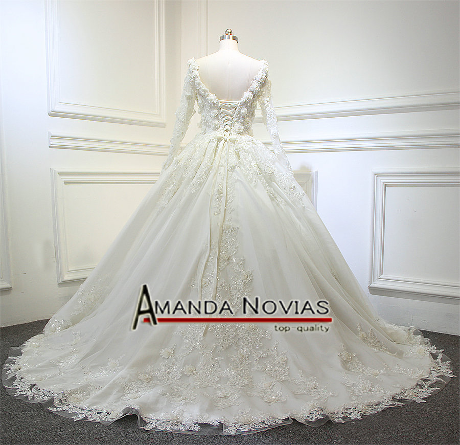 Aliexpress Luxury Shinny Flowers Wedding Dress Back Lace Up Real Work From Amanda Novias 2017 Reliable Flower