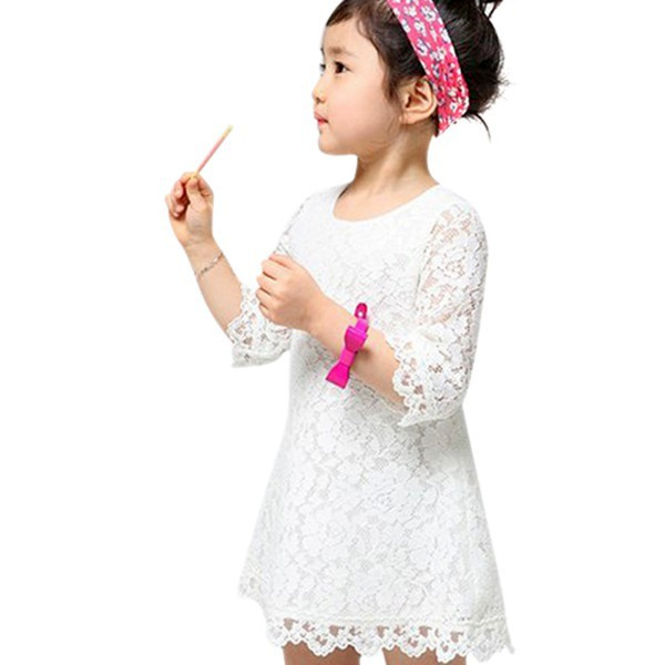 Kids Sweet Girl Sets Baby Dress Clothing Floral Flower Lace Party Dress 2 3 4 5 6 7 years in Dresses from Mother Kids