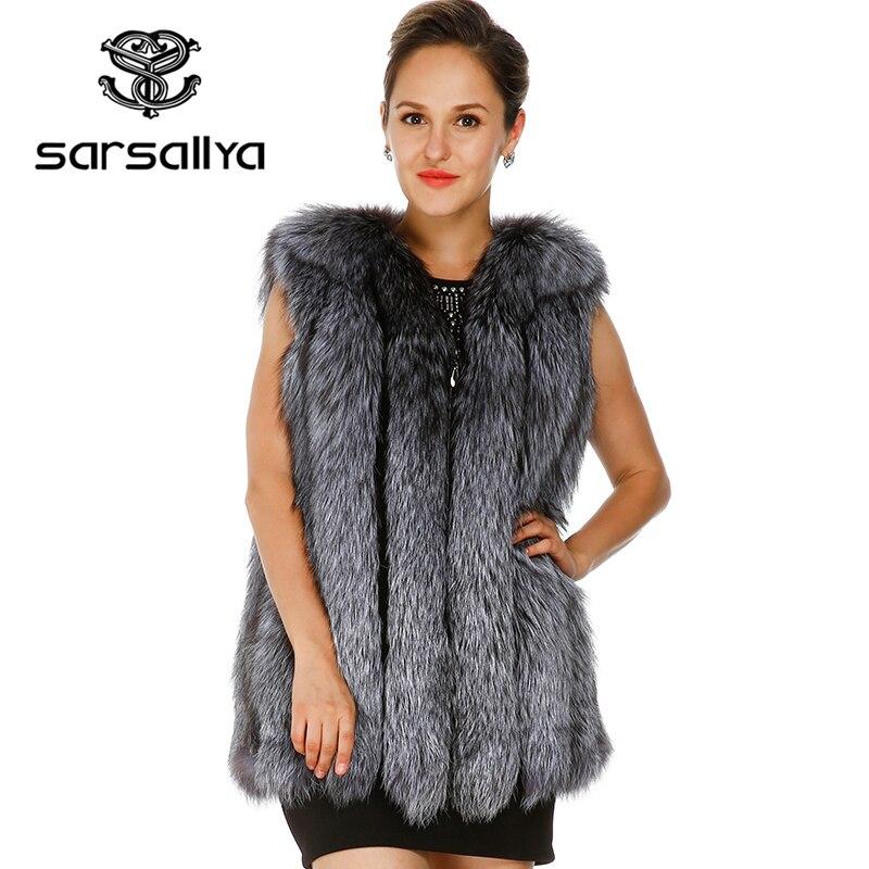 SARSALLYA 2016 nouvelle fourrure de renard gilet manteau d'hiver femmes fourrure naturelle hiver robe casual réel de fourrure réel gilet de fourrure d'hiver veste femmes