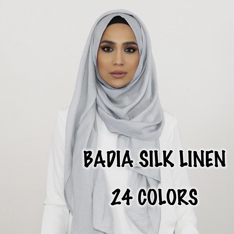 10pcs/lot Solid Plain Shinny Hijab Scarf Oversize Islam Shawl Head Wraps Soft Long Muslim Silk Linen Shimmer Plain Hijabs