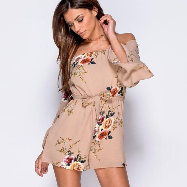 446f4856918a 2018 Casual Playsuit Casual Sexy Bodysuit Women Shorts Boho Jumpsuit Sash  Tie Summer Style Beach Resort Romper vestidos Clothing