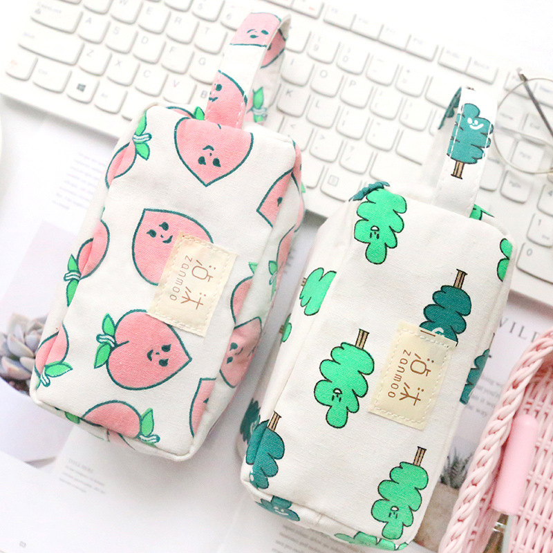 Cute Peach&Leaves Canvas Large Capacity Pencil Case Stationery Storage Organizer Bag Boys&Girls Pencil Case For School Supplies
