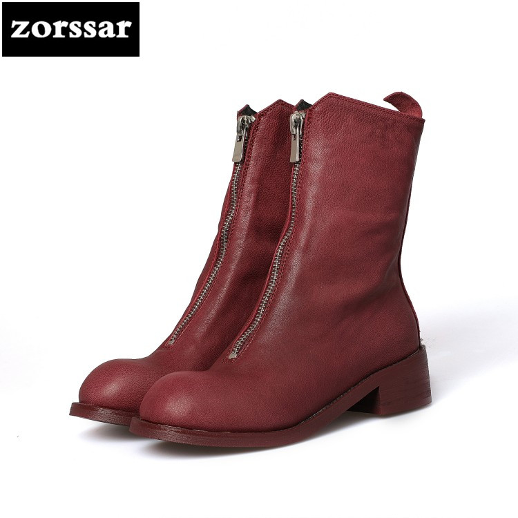 {Zorssar} 2018 New Genuine Leather low heel ankle boots Women snow boots winter shoes zapatos mujer botas invierno Big Size 43 new 2016 fashion women winter shoes big size 33 47 solid pu leather lace up high heel ankle boots zapatos mujer mle f15