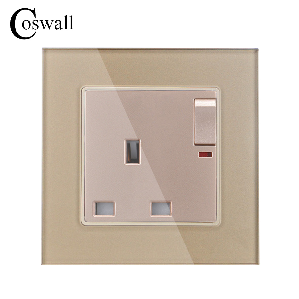 Wall Crystal Glass Panel Power UK Socket, 13A British Standard ...
