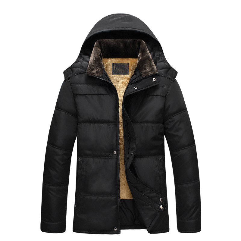 New 2016 Men Winter Black Jacket Parka Warm Coat With Hood Mens Cotton Padded Jackets Coats Jaqueta Masculina Plus Size NSWT019