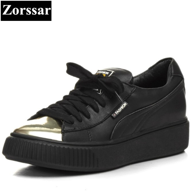 {Zorssar} 2017 NEW fashion Metal toe female casual shoes Womens Flat platform loafers Lace Up Leisure ladies flats shoes