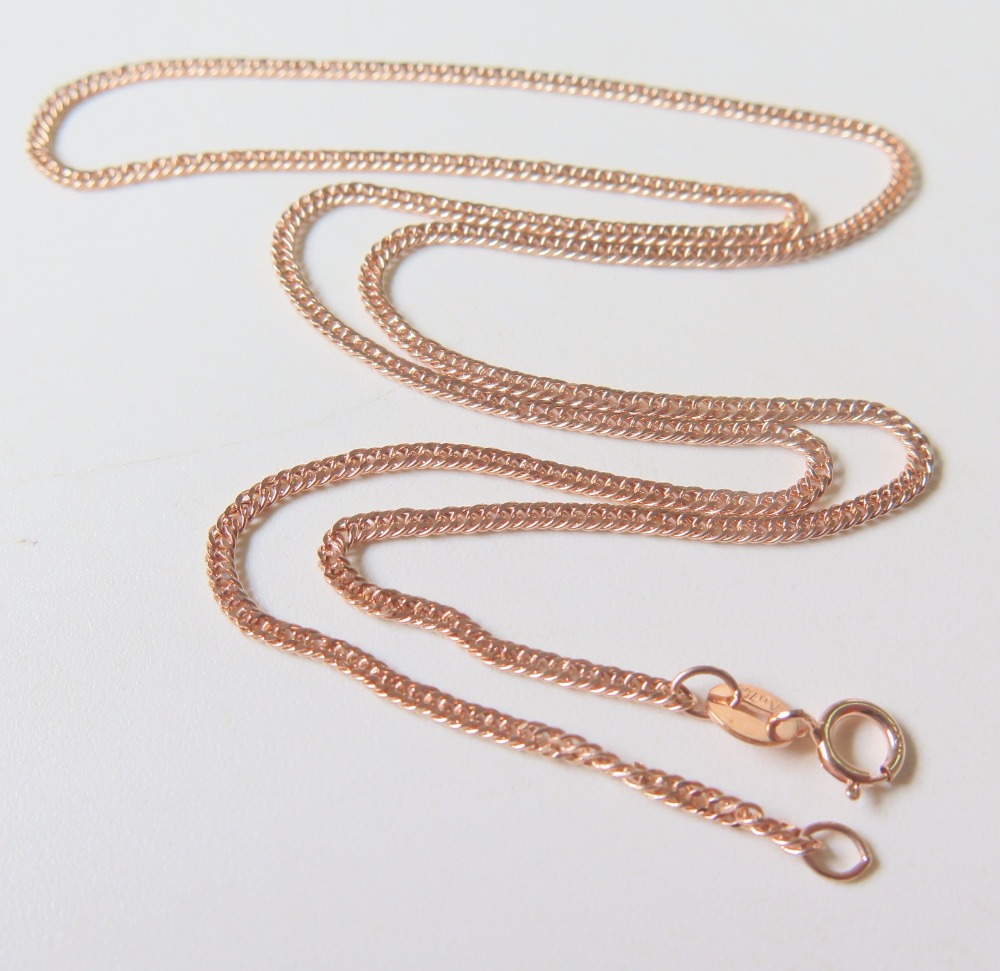Pure 18K Rose Gold Necklace Special 1.7mm Curb Link Chain Necklace 17.7inch Length Hallmark: Au750Pure 18K Rose Gold Necklace Special 1.7mm Curb Link Chain Necklace 17.7inch Length Hallmark: Au750