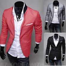 Мужской Повседневный тонкий стильный костюм на одной пуговице куртки пальто пиджаки с отложным воротником серый/черный/арбузный красный