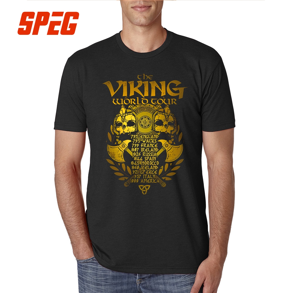 T     Shirt   Vikings New Golden Legends Valhalla Youth Cotton Short Sleeve Tshirs Hot Selling   T  -  Shirt   Men Vintage Printing Big Size