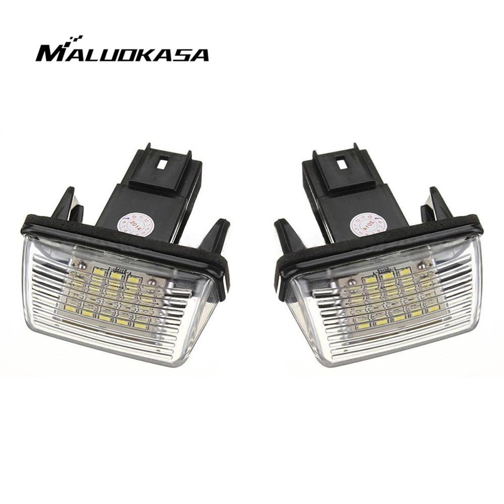 MALUOKASA 1 par NO ERROR auto número de LED luz de placa de licencia lámpara trasera para PEUGEOT 206, 207, 306, 307 CITROEN c3 C4 C5 estilo de coche