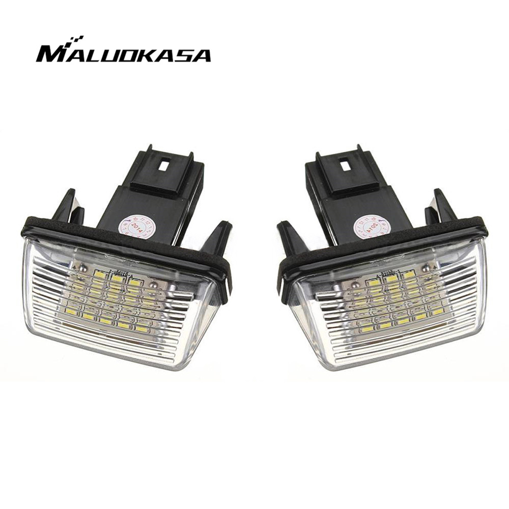 MALUOKASA 1Pair NO ERROR Atuo LED Number License Plate Light Rear Lamp for PEUGEOT 206 207 306 307 CITROEN C3 C4 C5 Car Styling 18 smd 2x no error car styling led license plate light for kia ceed cerato forte auto rear number plate lamp replacement