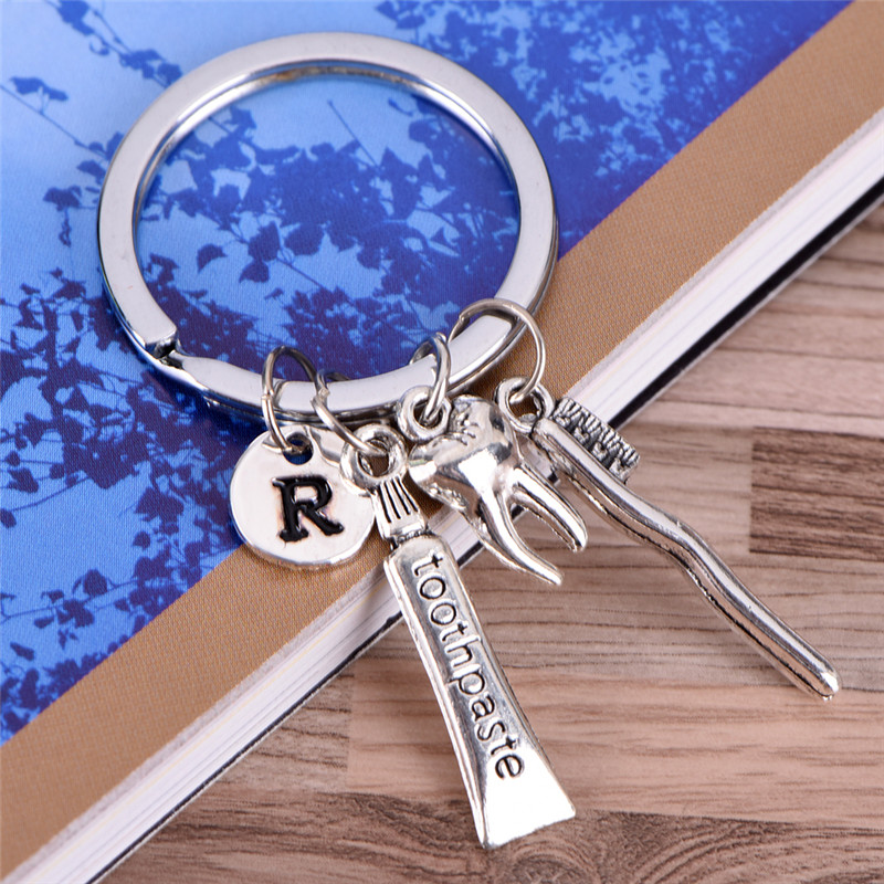 Dental hygienist keychain tooth /R /toothbrush /toothpaste Charm Key Chain Ring For Car Bag Key Ring Handbag Keychain hot image