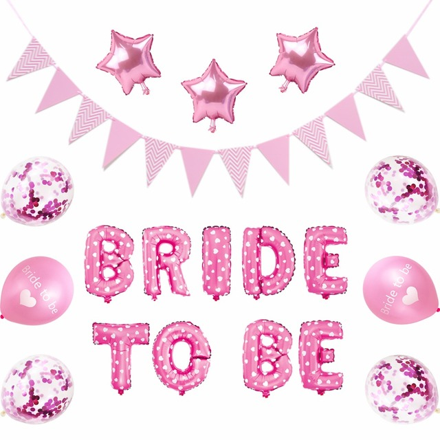 1 set bride to be balloon banner bridal shower balloons bachelorette party decorations confetti balloons heart