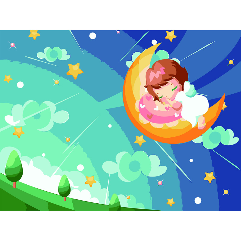 Frameless picture on wall acrylic paint by numbers diy painting by numbers Christmas gift coloring by numbers Moon baby cartoon