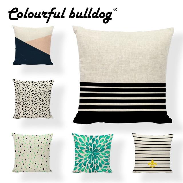 Colorful Geometric Pillow Case Trigon Dot 17inch Striped Rectangle