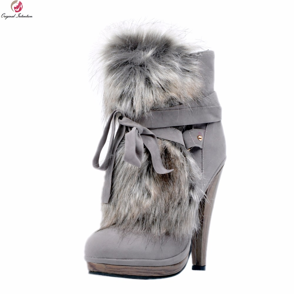 Original Intention Women New Fashion Ankle Boots Platform Round Toe Spike Heels Boots Nice Grey Shoes Woman Plus US Size 4-15 riding boots chunky heels platform faux pu leather round toe mid calf boots fashion cross straps 2017 new hot woman shoes