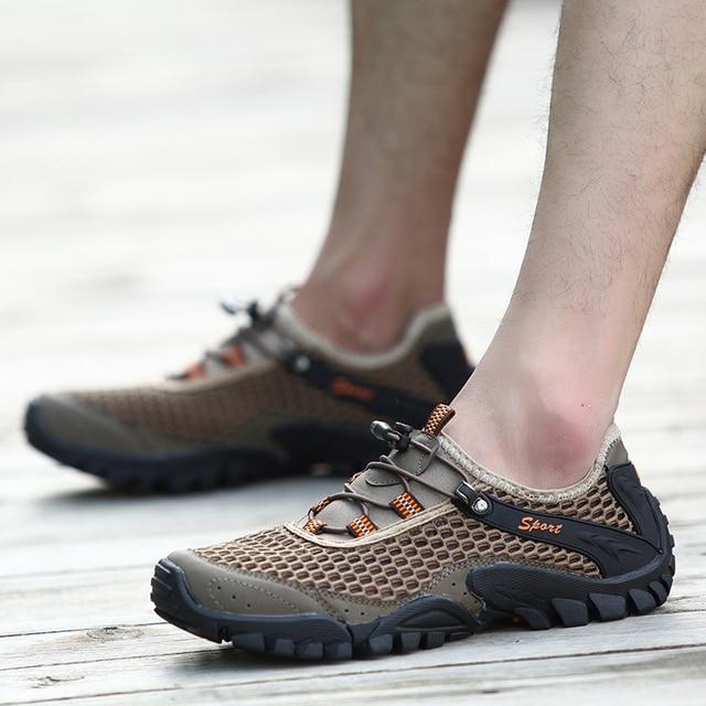 Outdoor Sport Hiking Shoes Air Mesh Microfiber Shoe Upper Wading Shoes Trekking Men Summer Lazy Lycra Spring Trekking Brown Shoe