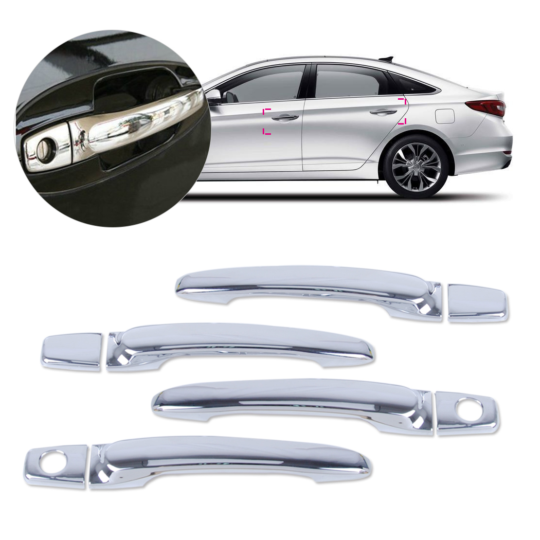 beler ABS Triple Chrome Car Vehicle Door Handle Covers Trim Cap w/ smart key for Hyundai Sonata 2002 2003 2004 2005