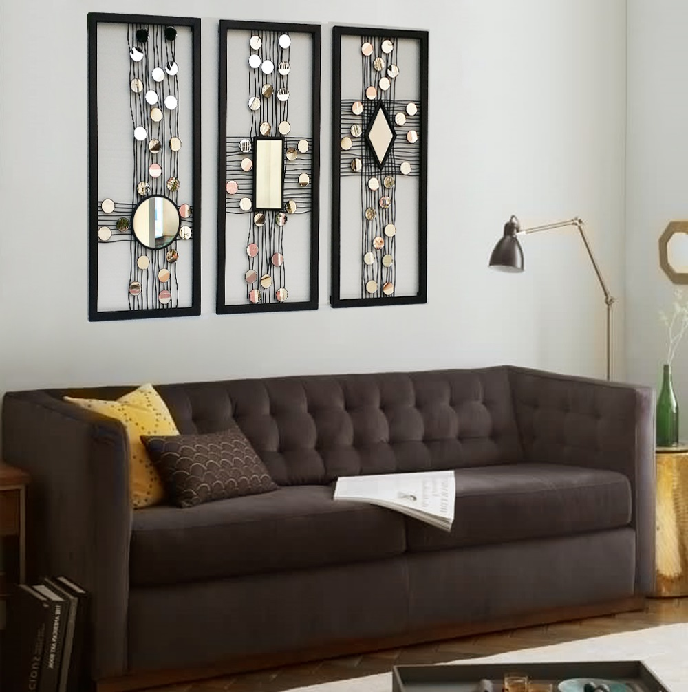 Metal Wire Wall Panel Art Mirrored Wall Decor Framed Wall