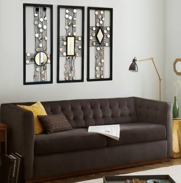 Metal wire wall panel art mirrored wall decor framed wall art W ...