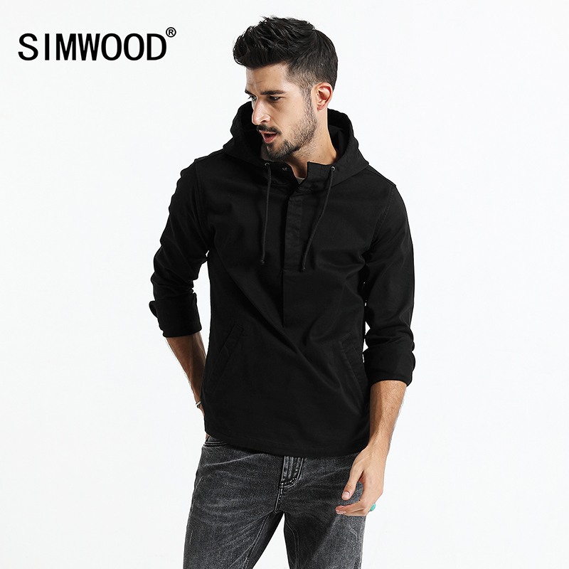 SIMWOOD 2017 Autumn New Hooded Jacket Hoodies Men Casual Coats Fashion Front Pocket Slim Fit Plus Size High Quality JK017009
