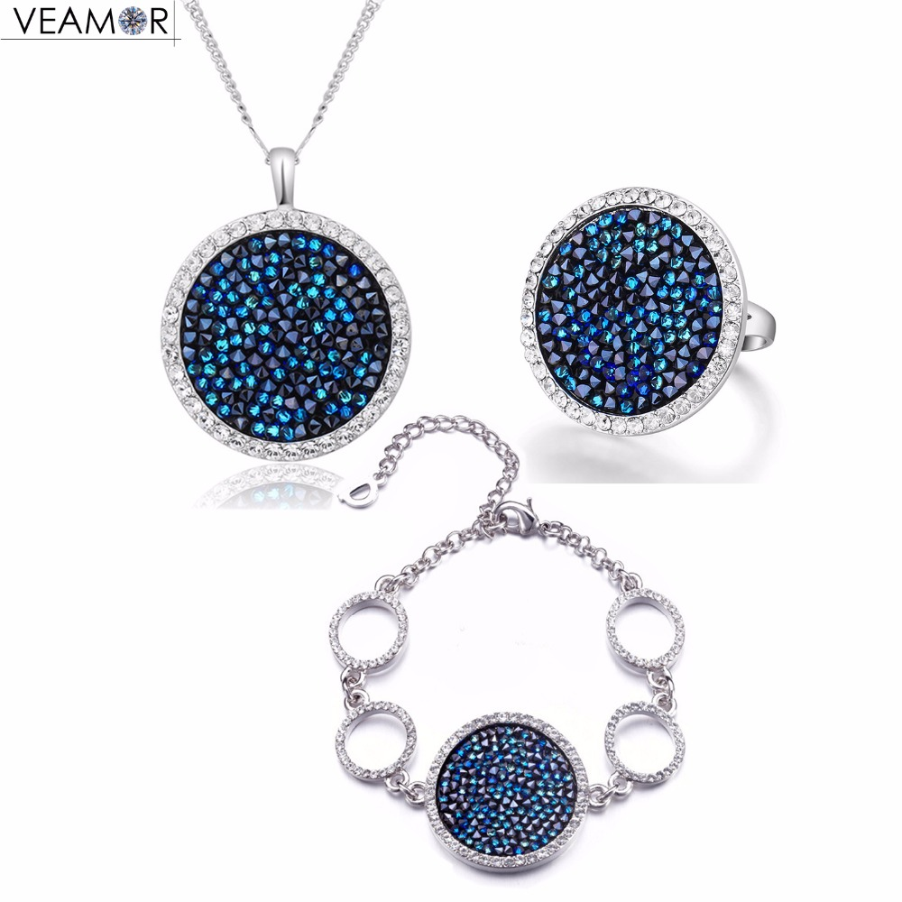 VEAMOR Pave Crystals Round Shape Necklace Bracelet Ring Jewelry Sets Luxury Party Women Jewelry Original Crystals from Austria цена