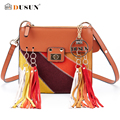 DUSUN Genuine Leather Women Messenger Bag Brands Design Women Bags Fashion Tassel Splice Messenger Bag Bolsa Feminina Handbags