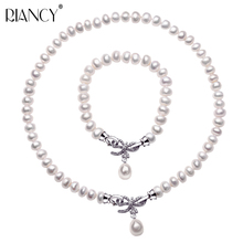 Fashion Pearl Jewelry Sets Natural Freshwater Jewelry 925 sterling silver Bow Pearl Necklace Bracelet Two sets For Women Gift natural gold freshwater pearl jewelry sets necklace