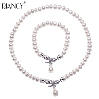 Fashion Pearl Jewelry Sets Natural Freshwater Jewelry 925 sterling silver Bow Pearl Necklace Bracelet Two sets For Women Gift